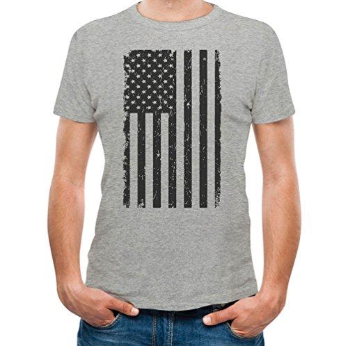Big Black American Flag - Vintage 4th Of July USA Flag T-Shirt Medium - Black And Gray Flag