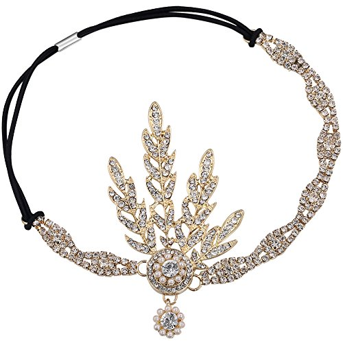 BABEYOND Art Deco 1920's Flapper Great Gatsby Inspired Leaf Medallion Pearl Headpiece Headband Gold -