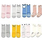 VWU 8 Pack Toddler Baby Cute Animal Socks Anti Slip Socks Cotton (0-2 years old, 8 pack anti slip animal socks)