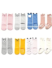 VWU 6 Pack/8 Pack Toddler Baby Cute Animal Socks Anti Slip Socks Cotton 0-4Y