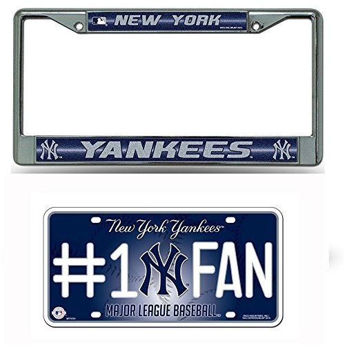Rico Industries New York Yankees MLB Glitter Bling Chrome Plate Frame & Yankees Number One Fan License Plate