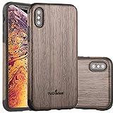 NeWisdom iPhone Xs Case Wood, iPhone X S Wood Case Unique Thin Slim Soft Protective Anti-Shock Shockproof (5.8'' iPhone 2018 BlackRose)