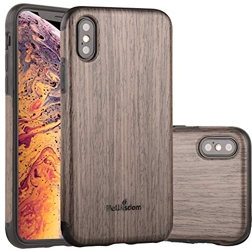 NeWisdom iPhone Xs Case Wood, iPhone X S Wood Case Unique Thin Slim Soft Protective Anti-Shock Shockproof (5.8