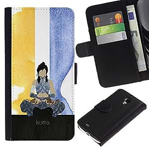 Protector de cuero de la PU de la cubierta del estilo de la carpeta del tirón BY RAYDREAMMM - Samsung Galaxy S4 Mini i9190 - Korra