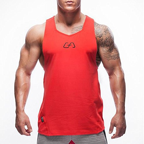 Men's Muscle Workout Gym Sleeveless T-Shirt Bodybuilding Crossfit Tank Tops Red L tags XL