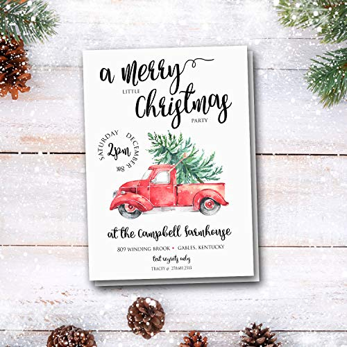 Red Truck Christmas Party Invitations - Rustic Holiday Party Invitations - Farmhouse Christmas Dinner Invites - Company Dinner Party Invites - Supper Club Dinner Invites - Set of 20 Printed - Christmas Invite