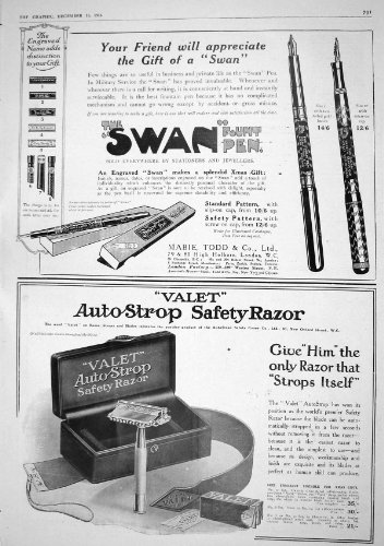 old-print Print 1916 Swan Fountain Pen Mabie Todd Auto-Strop Safety Razor 791M194