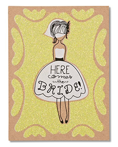 American Greetings Funny Here Comes The Bride Wedding Card for Her with Glitter