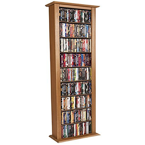- Venture Horizon Media Storage Tower-Tall Single Oak