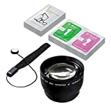 LS Photography 52mm 2.2x Telephoto Lens Camera Accessory, Lens Cap Holder, Cleaning Wipes, LGG374