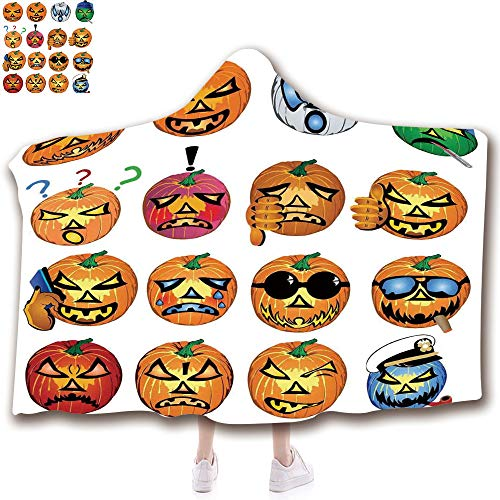 Fashion Blanket Ancient China Decorations Blanket Wearable Hooded Blanket,Unisex Swaddle Blankets for Babies Newborn by,Pumpkin with Emoji Faces Halloween Humor Hipster,Adult Style Children -