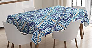 Moroccan Decor Tablecloth by Ambesonne, Moroccan Portuguese Style Classic Tiles Ornaments Islamic Historical Buildings Art, Dining Room Kitchen Rectangular Table Cover, 52 X 70 Inches, Blue White
