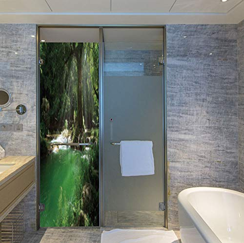 YOLIYANA Privacy Window Film Decorative,Nature,for Glass Non-Adhesive,Tropical Forest Foliage with Cascade Rainforest Relaxing National,24''x78''