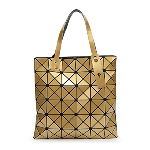 Bolsos plegables de las mujeres acolchadas Diamante Geometría Láser Verano Bolsos Femeninos A Cuadros Top Handle Bag Fake Designer Handbags black Top-Handle Bag 32.5X32.5cm Gold Handbags