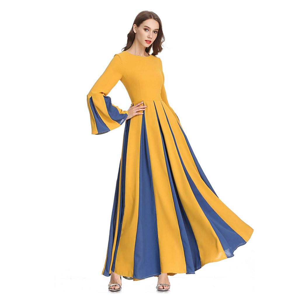 Sayhi Muslim Women's Stitching Slim A-line Pleated Dress Temperament Lady Dress Gowns Robe for Party Occasion(Yellow,M) by Sayhi (Image #4)
