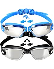 Kids Swim Goggles 2 Pack, Mirrored Black & Mirrored Blue, Swimming Goggles for Teenagers, Anti-fog Anti-UV Youth Swimming Glasses, Leakproof, Free ear plugs, one button open straps, for 4-16 Y/O