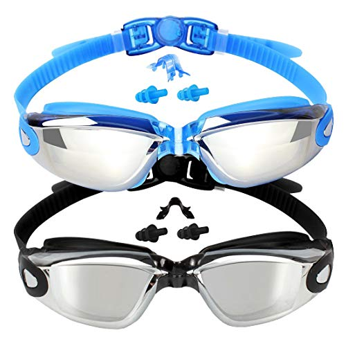 EverSport Swim Goggles, 2-Pack, Swimming Goggles, Mirrored Lens, for Adult Men Women Youth Kids Child, Anti-Fog, UV Protection, Shatter-Proof, Watertight -