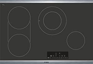 """Bosch 800 Series 30"""" Touch Control Electric Cooktop, NET8068SUC, Black with Stainless Steel Frame"""