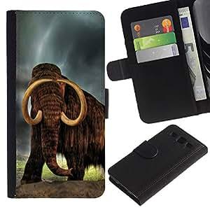 Samsung Galaxy S3 III i9300 i747 - Dibujo PU billetera de cuero Funda Case Caso de la piel de la bolsa protectora Para (Majestic Mammoth)