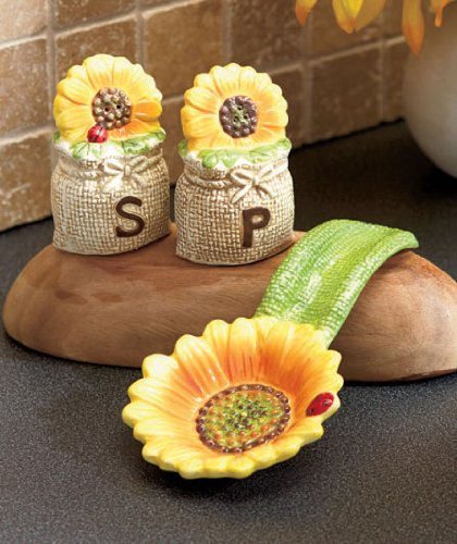Tuscan Spring Sunflowers Bistro Countertop Sets Salt N Pepper Shakers  Holder Spoon Rest Ceramic Kitchen Accent