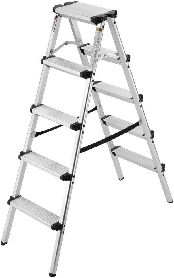 Finether-Escalera de Tijeras Plegable Escalerilla Domésctica de Alumnio Taburete con Escalera Portátil Escalera de Mano, 2 x 5 peldaños, 4FT, en 131, Capacidad de 150KG: Amazon.es: Bricolaje y herramientas