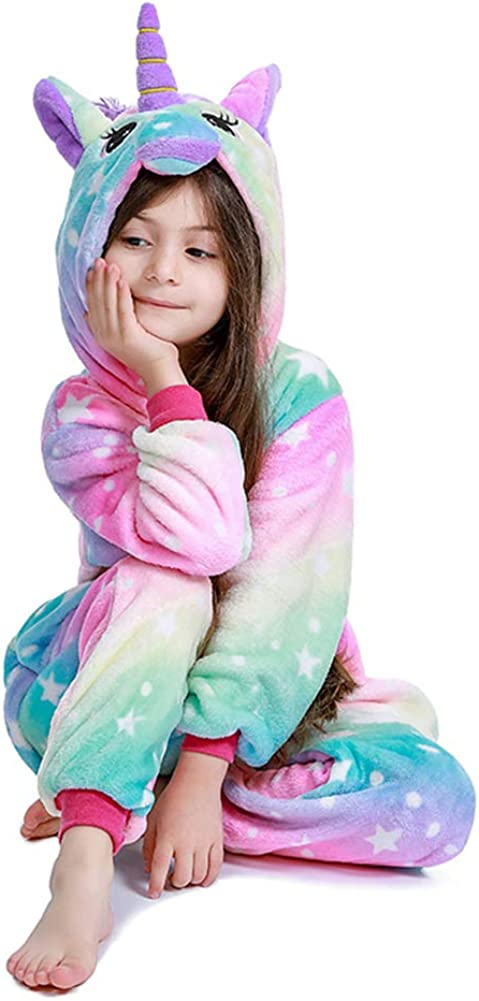 Kids Unicorn Onesie Animal Pajamas Halloween Cosplay Costume Sleepwear Gift for Girls and Boys