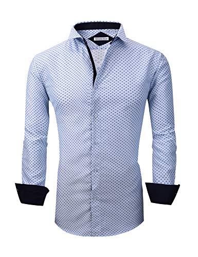 Mens Long Sleeve Printed Dress Shirts Casual Button Down Regular Fit Men Shirt (Long-lightblue XL