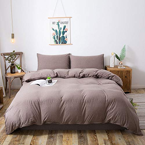 Household 100% Cotton Jersey Knit Duvet Cover Comfortable,Extremely Durable Includes 2 Pillowcase (Coffee, Queen)