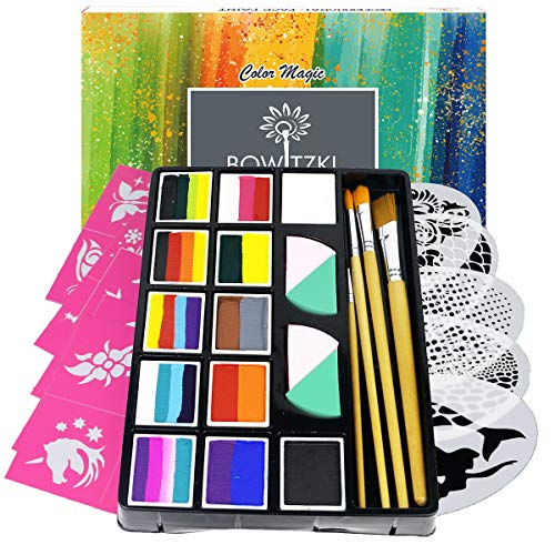 Bowitzki Professional Face Painting Kit for Kids Adults 12 x