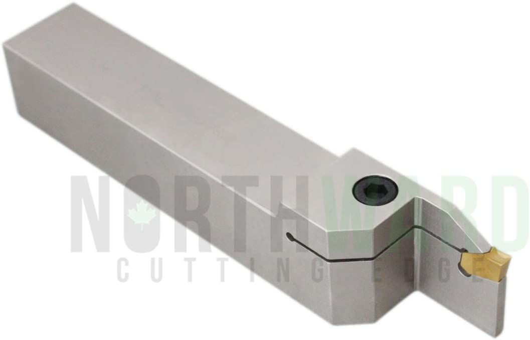Nickel Plated 2415-5024 Accusize Industrial Tools 1//2 Shank Heavy Duty Indexable Grooving//Cut-Off Holder with a Gtn-2 Tin Coated Carbide Insert