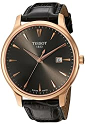 Tissot Women's 'Tradition' Swiss Quartz Gold and Leather Automatic Watch, Color:Grey (Model: T0636103608600)