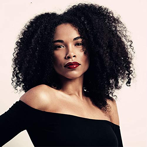 zhen show Black Short Kinky Curly Wig Synthetic Afro Full Wigs For Black Women Heat Resistant Hair Curly Wigs With Bangs For African Women (Black Color) ()