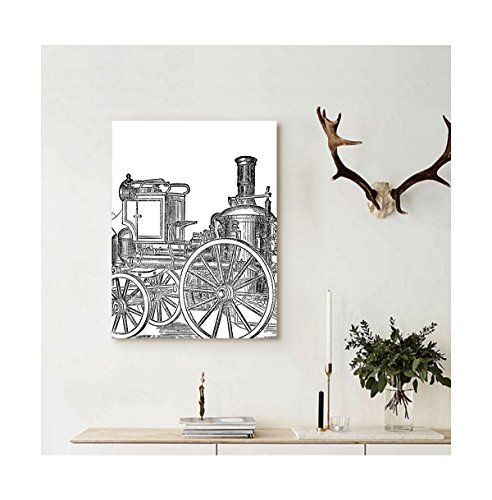Liguo88 Custom canvas Steam Engine Wall Hanging Old Fireman Truck Drawing Effect Picture British Antique Transportation Print Decor Black and White (Picture X 5 7 Frame Fireman)