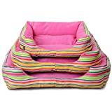 Spring Fever Deep Pet Bed Dog Cat Stripe Crate Mat Rainbow Water-resistant base Pink Stripe L(26.821.76.3 inch)