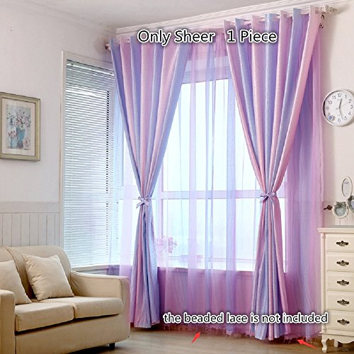 Beaded Magic Top (TIYANA Striped Sheer Curtains for Girls Bedroom 63 inch length Rod Pocket Top Gradient Purple and Pink Tulle Voile Door Window Curtain Drape Panel Sheer Valances, Magic Stripes, W54 x L63 inch)