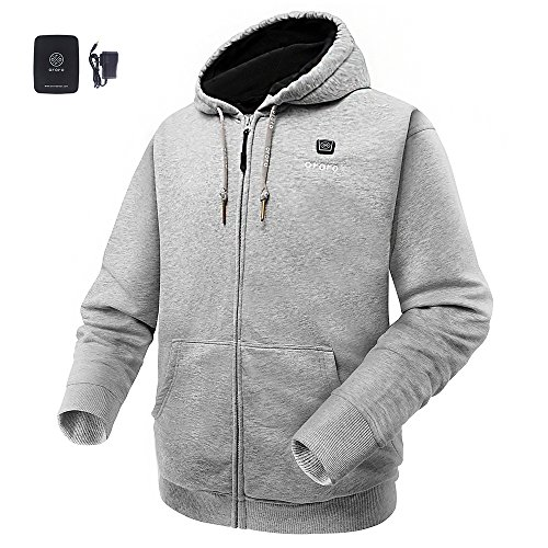 ORORO Cordless Light Gray Heated Hoodie Kit with 4400mAh Battery& Charger (Light Gray, Medium) (Heated Jacket)