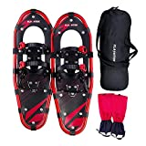 FLASHTEK 21 Inches Snowshoes for Men and Women, Light Weight Aluminum Terrain Snowshoes + Free Carrying Tote Bag (Red NP)