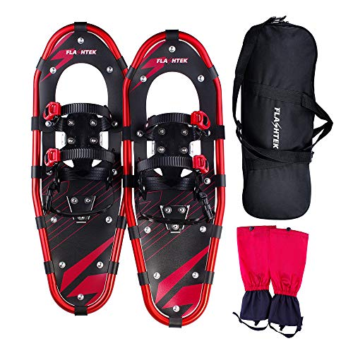 FLASHTEK 21' Snowshoes for Men and Women, Light Weight Aluminum Terrain Snowshoes + Free Carrying Tote Bag (Red)