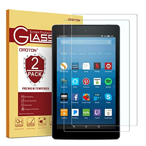 [2-Pack] OMOTON Screen Protector for All-New Fire HD 8, Tempered Glass/HD/Easy Installation