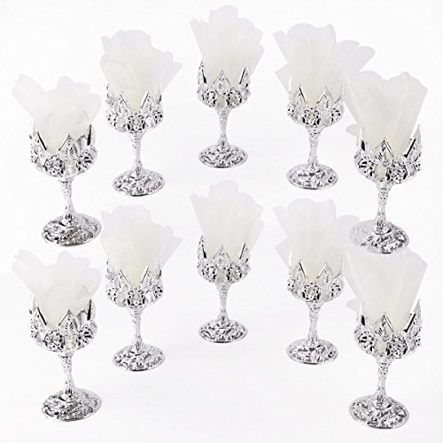 Plastic Chalice Cup - Surepromise 10 Silver Wedding Favor Chalice Goblet Cups Plastic Renaissance