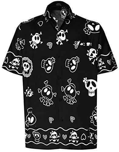 LA LEELA Halloween Pirate Likre Aloha Dress Men's ShirtBlack 355 Large   Chest 44