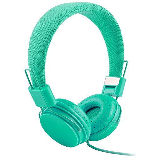 Headphones, Iuhan Adjustable Foldable Kid Wired Headband Earphone Headphones with Mic Stereo Bass (Mint Green) ()