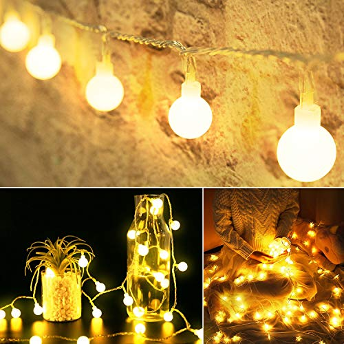 Mini Globe String Lights: 33 Ft 100 LED Ball Lights Plug in | USB & Power Adapter & Remote | Decor for Bedroom Wall…