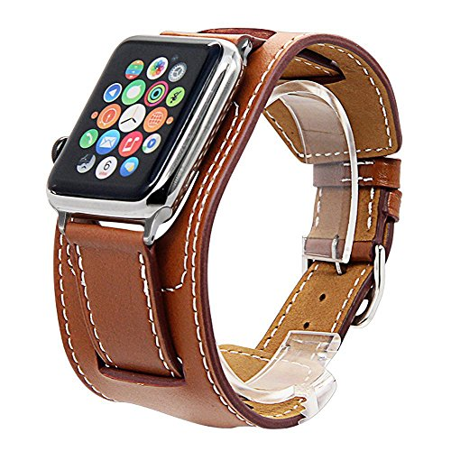 (V-Moro Compatible Apple Watch Band 42mm Men, Cuff Bracelet Leather Band iWatch Band Bracelet for Apple Watch Series 3 Series 2 Series 1, Sport, Hermes, Nike+, Edition (Cuff Brown, 42mm-Large))