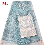 Laliva African Chemical Lace Fabric Water Soluble Yellow Nigerian Guipure Wedding Dress African Lace FabricRF96 - (Color: Light Blue)