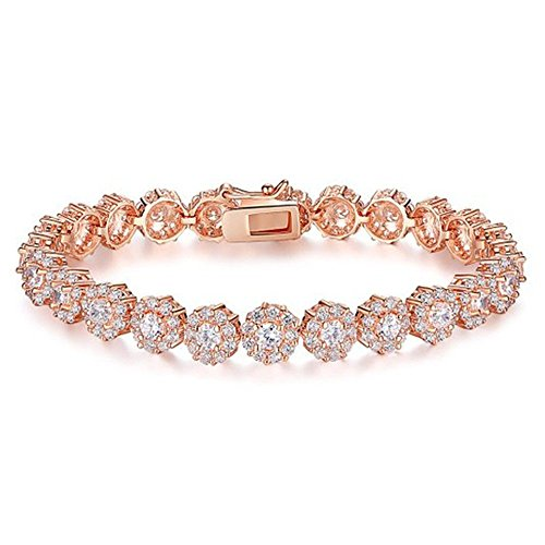 Bamoer Mother's Day Gift Luxury Rose Gold Plated Bracelet with Sparkling White Cubic Zirconia Stones for Women