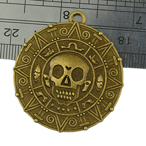 MonkeyJack 6x Punk Halloween Pirates Aztec Coin Medallion Skull Necklace Pendant Bronze (Pirate Skull Charm)