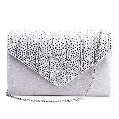 Epaule argente Mariage Sac Soiree strass chaine Handbag Pochette Party Enveloppe de Soiree RYZFapwwPq