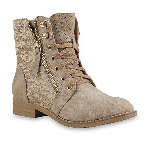 Damen Übergrößen Flandell Khaki Schnürstiefeletten Stiefelparadies xP0wp6qaa