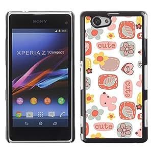 Be Good Phone Accessory // Dura Cáscara cubierta Protectora Caso Carcasa Funda de Protección para Sony Xperia Z1 Compact D5503 // Cute Pattern Art Kids White